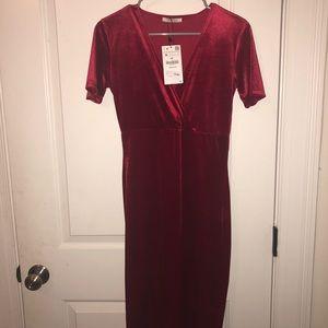Red Velvet Midi Dress